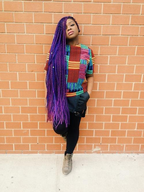 Tresses longues violette